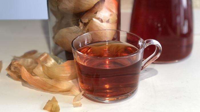 chá cascas de cebola